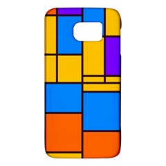Retro Colors Rectangles And Squares 			samsung Galaxy S6 Hardshell Case by LalyLauraFLM