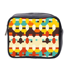 Shapes In Retro Colors Mini Toiletries Bag (two Sides) by LalyLauraFLM