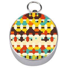 Shapes In Retro Colors Silver Compass by LalyLauraFLM
