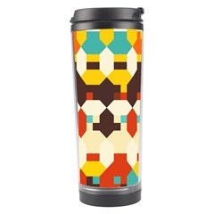 Shapes in retro colors Travel Tumbler by LalyLauraFLM