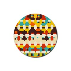 Shapes In Retro Colors 			rubber Round Coaster (4 Pack) by LalyLauraFLM