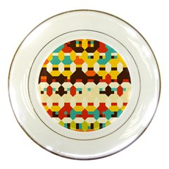 Shapes In Retro Colors porcelain Plate by LalyLauraFLM