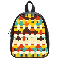 Shapes In Retro Colors school Bag (small) by LalyLauraFLM