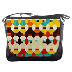 Shapes In Retro Colors 			messenger Bag by LalyLauraFLM