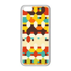 Shapes In Retro Colors apple Iphone 5c Seamless Case (white) by LalyLauraFLM