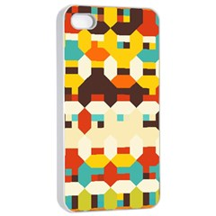 Shapes In Retro Colors apple Iphone 4/4s Seamless Case (white) by LalyLauraFLM