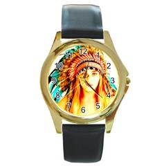 Indian 29 Round Gold Metal Watch by indianwarrior