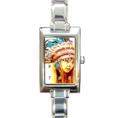 Indian 12 Rectangle Italian Charm Watch by indianwarrior