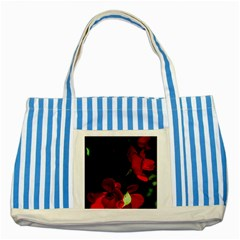 Roses 1 Striped Blue Tote Bag by timelessartoncanvas