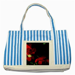Roses 2 Striped Blue Tote Bag by timelessartoncanvas