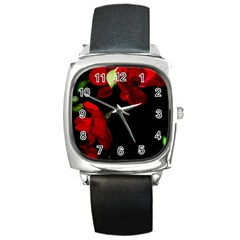 Roses 4 Square Metal Watch by timelessartoncanvas