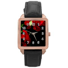 Roses 4 Rose Gold Leather Watch  by timelessartoncanvas