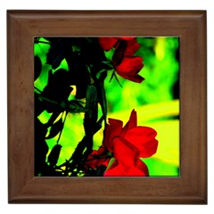 Red Roses And Bright Green 1 Framed Tiles by timelessartoncanvas