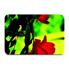 Red Roses And Bright Green 1 Plate Mats by timelessartoncanvas