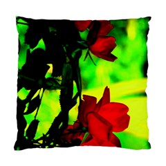 Red Roses And Bright Green 1 Standard Cushion Case (one Side) by timelessartoncanvas
