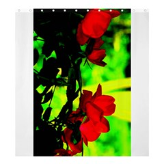 Red Roses And Bright Green 1 Shower Curtain 66  X 72  (large)  by timelessartoncanvas
