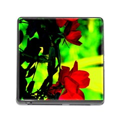 Red Roses And Bright Green 1 Memory Card Reader (square) by timelessartoncanvas