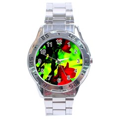 Red Roses And Bright Green 1 Stainless Steel Analogue Watch by timelessartoncanvas