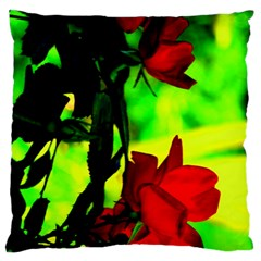 Red Roses And Bright Green 1 Large Cushion Case (two Sides) by timelessartoncanvas