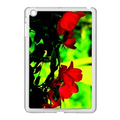 Red Roses And Bright Green 1 Apple Ipad Mini Case (white) by timelessartoncanvas