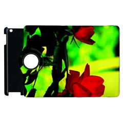 Red Roses And Bright Green 1 Apple Ipad 3/4 Flip 360 Case by timelessartoncanvas
