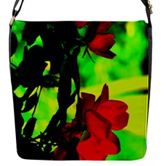 Red Roses And Bright Green 1 Flap Messenger Bag (s) by timelessartoncanvas