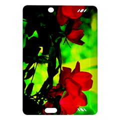 Red Roses And Bright Green 1 Kindle Fire Hd (2013) Hardshell Case by timelessartoncanvas