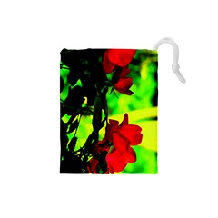 Red Roses And Bright Green 1 Drawstring Pouches (small)