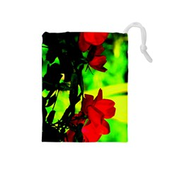 Red Roses And Bright Green 1 Drawstring Pouches (medium)