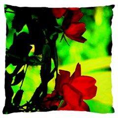 Red Roses And Bright Green 1 Large Flano Cushion Case (two Sides) by timelessartoncanvas