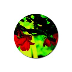 Red Roses And Bright Green 2 Rubber Round Coaster (4 Pack)  by timelessartoncanvas
