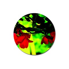 Red Roses And Bright Green 2 Magnet 3  (round) by timelessartoncanvas
