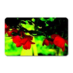 Red Roses And Bright Green 2 Magnet (rectangular) by timelessartoncanvas