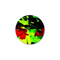 Red Roses And Bright Green 2 Golf Ball Marker by timelessartoncanvas