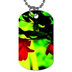 Red Roses And Bright Green 2 Dog Tag (two Sides) by timelessartoncanvas