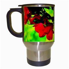 Red Roses And Bright Green 2 Travel Mugs (white) by timelessartoncanvas