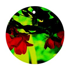 Red Roses And Bright Green 2 Round Ornament (two Sides)  by timelessartoncanvas