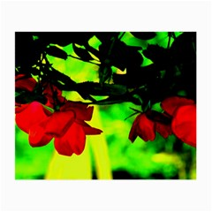 Red Roses And Bright Green 2 Small Glasses Cloth (2 Side) by timelessartoncanvas