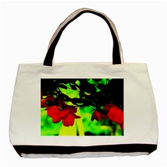 Red Roses And Bright Green 2 Basic Tote Bag (two Sides) by timelessartoncanvas