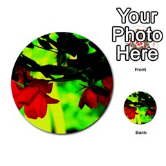 Red Roses And Bright Green 2 Multi Purpose Cards (round)  by timelessartoncanvas