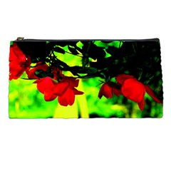 Red Roses And Bright Green 2 Pencil Cases by timelessartoncanvas