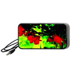 Red Roses And Bright Green 2 Portable Speaker (black)  by timelessartoncanvas