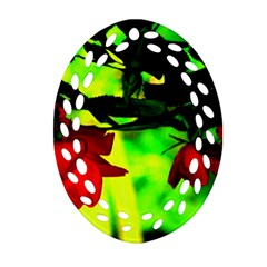 Red Roses And Bright Green 2 Ornament (oval Filigree)  by timelessartoncanvas