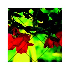 Red Roses And Bright Green 2 Acrylic Tangram Puzzle (6  X 6 ) by timelessartoncanvas