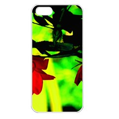 Red Roses And Bright Green 2 Apple Iphone 5 Seamless Case (white) by timelessartoncanvas