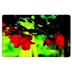 Red Roses And Bright Green 2 Apple Ipad 2 Flip Case by timelessartoncanvas