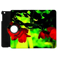 Red Roses And Bright Green 2 Apple Ipad Mini Flip 360 Case by timelessartoncanvas