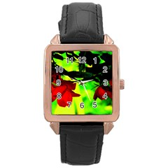 Red Roses And Bright Green 2 Rose Gold Leather Watch  by timelessartoncanvas