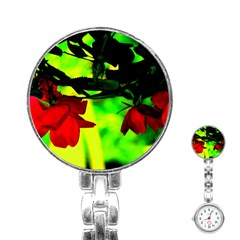 Red Roses And Bright Green 2 Stainless Steel Nurses Watch