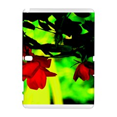 Red Roses And Bright Green 2 Samsung Galaxy Note 10 1 (p600) Hardshell Case by timelessartoncanvas